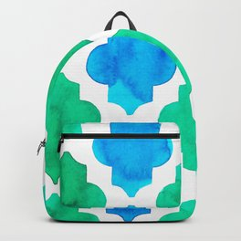 Quatrefoil pattern in blue and green Backpack