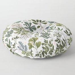 Herbarium ~ vintage inspired botanical art print ~ white Floor Pillow