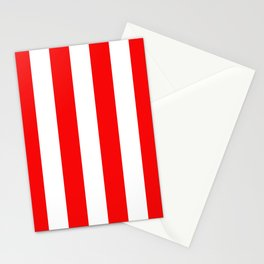 Jumbo Berry Red and White Rustic Vertical Cabana Stripes Stationery Cards