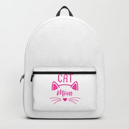 Cat Mom Heart Nose Ears and Whiskers mag Backpack