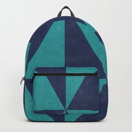 Geometric Triangle Pattern - Turquoise, Blue Backpack