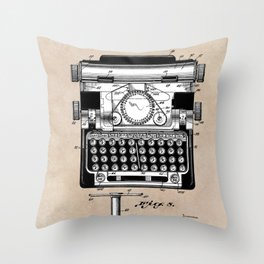 patent art typewriter Throw Pillow
