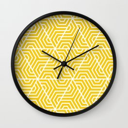 Jonquil - yellow - Geometric Seamless Triangles Pattern Wall Clock