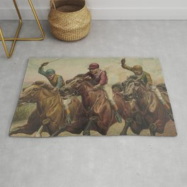 Vintage Finish Line Horse Jockeys Illustration (1891) Rug