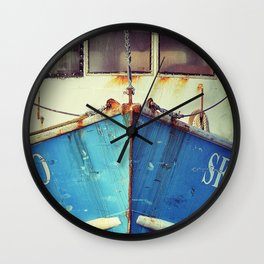 old blue boat Wall Clock