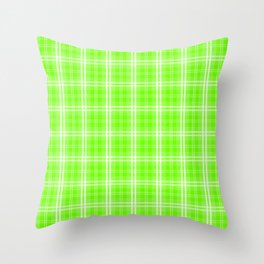 Bright Neon Green and White Tartan Plaid Check Throw Pillow
