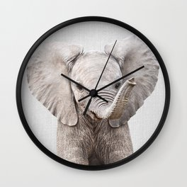Baby Elephant - Colorful Wall Clock