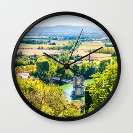 Landscape of Trevoux town scenic in France along Saone river Wall Clock