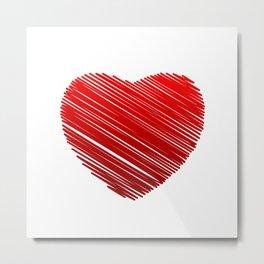 Scribbled red valentine heart- be my valentine Metal Print
