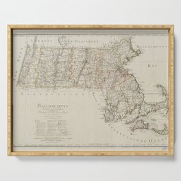 Vintage Map Print - Map of Massachusetts (1797) Serving Tray