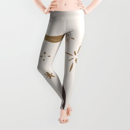 Woman Silhouette Greek Gymnast Magic Moon Charm Midcentury Modern Cool Magical Mystical Abstract Art Bohemian Boho Style Trendy  Leggings