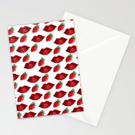Hand painted red green strawberries lips pattern Stationery Cards