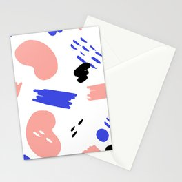 Memphis pattern of geometric shapes abstract design Stationery Cards