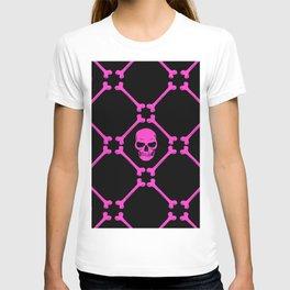 Skulls and bones hot pink on black T-shirt