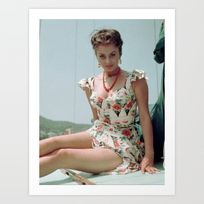 Young Sophia Loren 1955 Art Print By Classicalart Society6