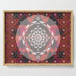 Fractal Floral Sacred Geometry Rose Quilt Serving Tray