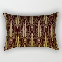 Glam Gold Art Deco Ornate Pattern Rectangular Pillow