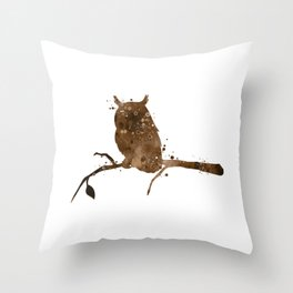 Owl Art Birds Gift Colorful Brown Watercolor Art Wildlife Nature Owl Lovers Art Animal Lovers Gift Throw Pillow
