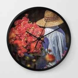 Picking the Flowers Wall Clock