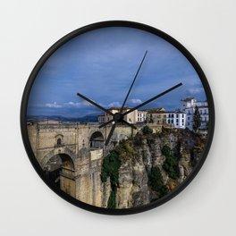 Spain Ronda Andalusia Cliff Bridges Houses Cities Rock Crag bridge Building Wall Clock