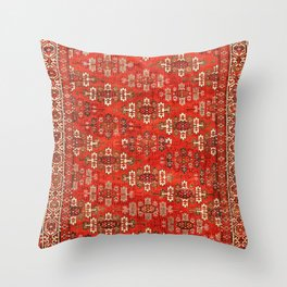 Southwest Shapes I // Bright Colorful Red Orange Green Creme Ornate Southwestern Tuscan Rug Pattern Throw Pillow