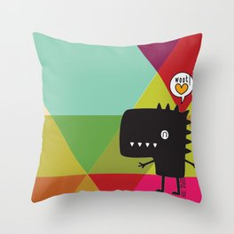 Woot! (Happy Dinosaur) Throw Pillow
