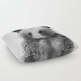 Grizzly Bear - Black & White Floor Pillow