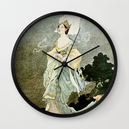 """""""Carrying Her Train"""" by Charles Robinson Wall Clock"""