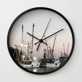 Fishing Boats on the Water at Sunset Wall Clock