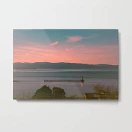 Burlington Vermont Breakwater Lighthouse View of New York State New England Metal Print