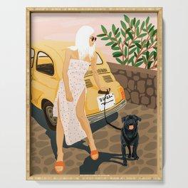 Tour, Pet Dog Walk, Italy Summer Fashion Woman, Animal Illustration, Travel Bohemian Cooper Painting Serving Tray