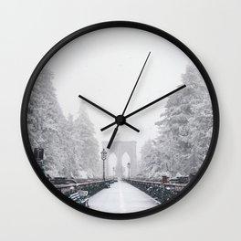 New York City and Brooklyn Bridge Winter/Christmas Wall Clock