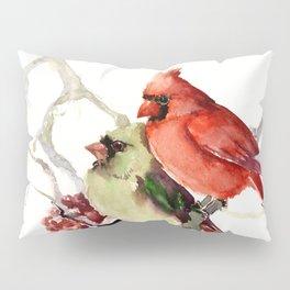 Cardinal Birds, birds art, two bird artwork cardinal bird Pillow Sham