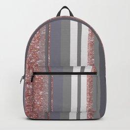 Grey & pink stripes  Backpack