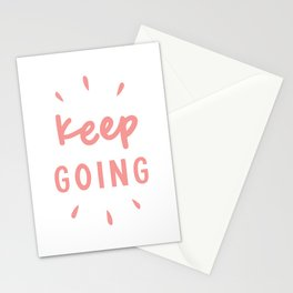 Keep Going hand lettered motivational typography graphic design in peach pink Stationery Cards