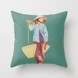 Water Bearer Old Lady Throw Pillow