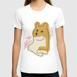 Doge Dog Meme with Flowers T-shirt