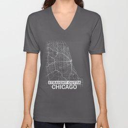 Straight Outta Chicago Illinois City Map Tee Unisex V-Neck
