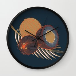Coconuts and coconut tree branch Wall Clock