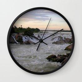 Mekong River Li Phi Waterfalls, sunrise, dawn, Laos Wall Clock