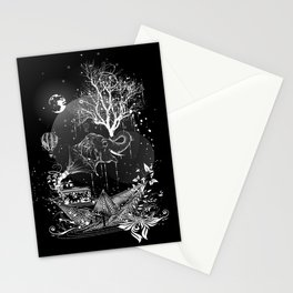 Surrealistic dream, paper boat, elephant, tree and gramophone Stationery Cards