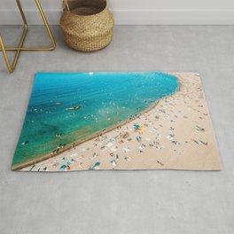 Keep Calm And Think Of The Beach | Aerial Print | Beach Print | Waves Art Print | Modern Wall Art Rug
