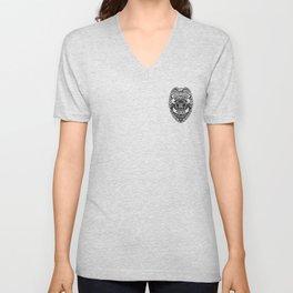 U.S. Military Police Veteran Security Force Badge, Black Line Art Unisex V-Neck