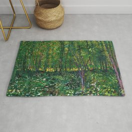 Brush and Underbrush flower and forest landscape by Vincent van Gogh Rug