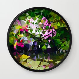 Abstract Water Lily Pond After Monet Low Poly Geometric Triangles  Wall Clock
