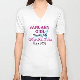 January Girl Birthday Unisex V-Neck
