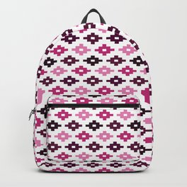 Geometric Flower Cross Stitch Appearance - Rose Pink On White Backpack