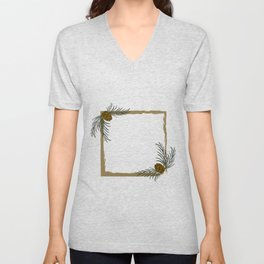 Frames with Christmas pines Unisex V-Neck
