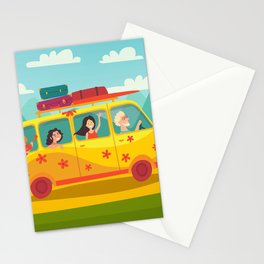 Summer trip vector illustration. Stationery Cards
