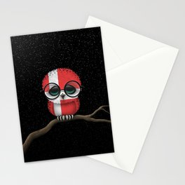 Baby Owl with Glasses and Danish Flag Stationery Cards
